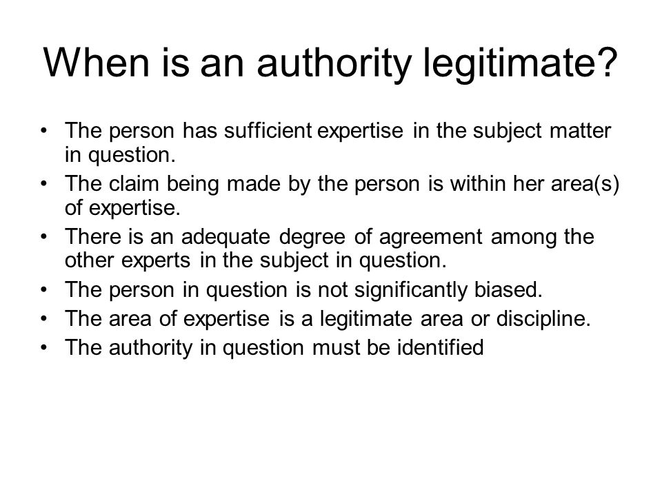 When is an authority legitimate