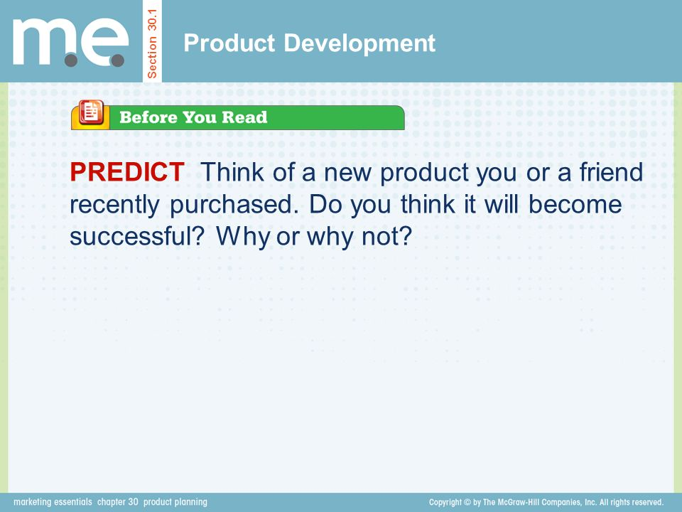 Product Development Section 301