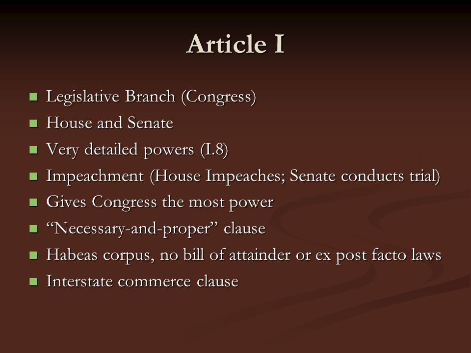 Article I Legislative Branch (Congress) House and Senate