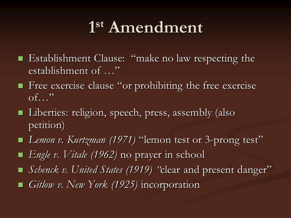 1st Amendment Establishment Clause: make no law respecting the establishment of … Free exercise clause or prohibiting the free exercise of…