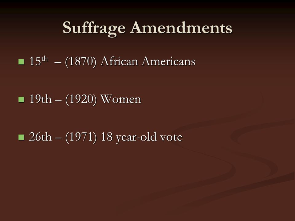 Suffrage Amendments 15th – (1870) African Americans