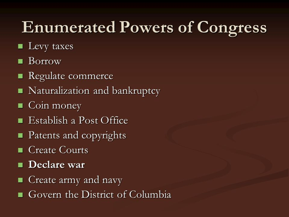 Enumerated Powers of Congress