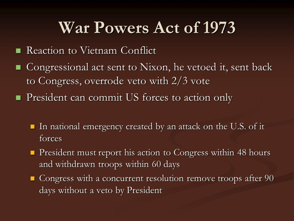 War Powers Act of 1973 Reaction to Vietnam Conflict