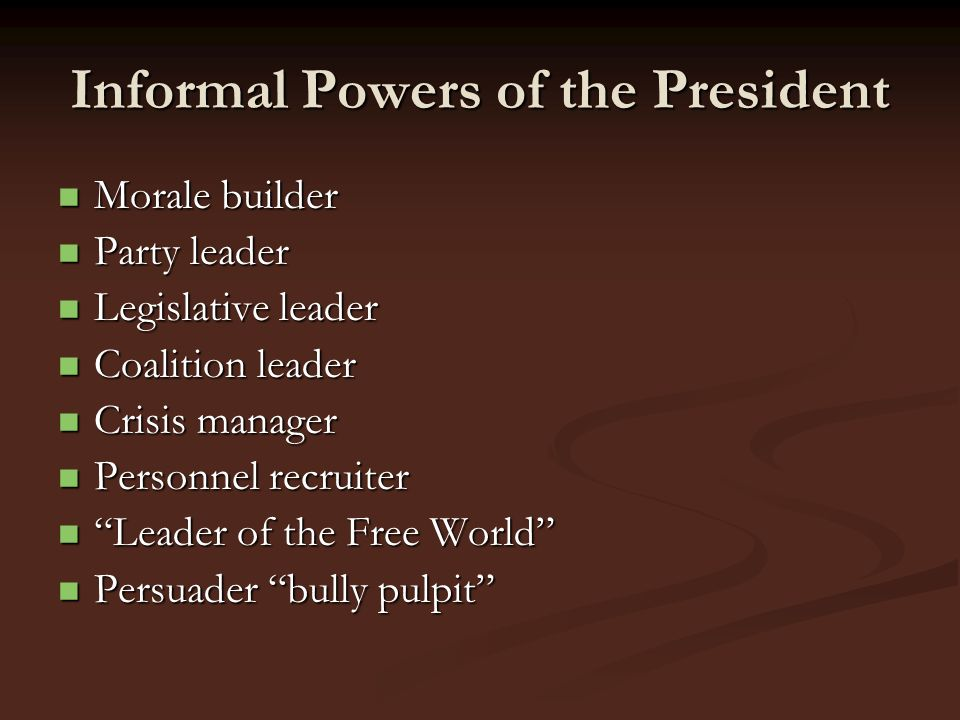 Informal Powers of the President