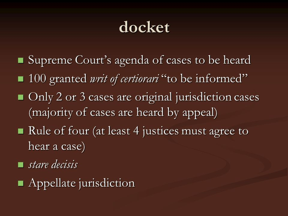 docket Supreme Court's agenda of cases to be heard