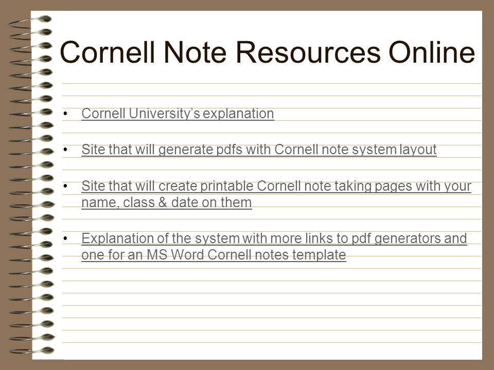 The Modified Cornell Note Taking System - Ppt Video Online Download