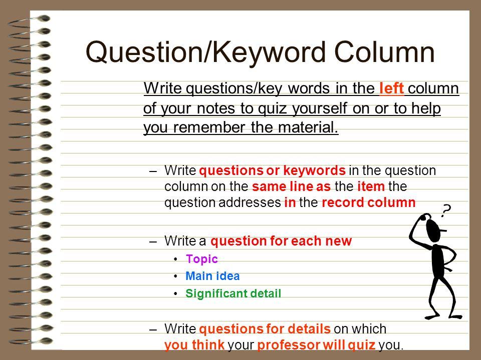 Question/Keyword Column