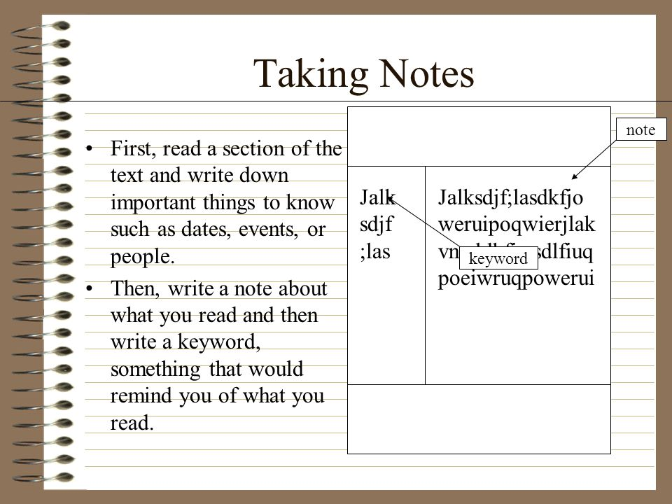 Taking Notes note. First, read a section of the text and write down important things to know such as dates, events, or people.