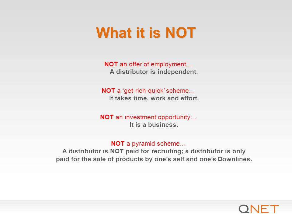 what it is not not an offer of employment a distributor is independent not