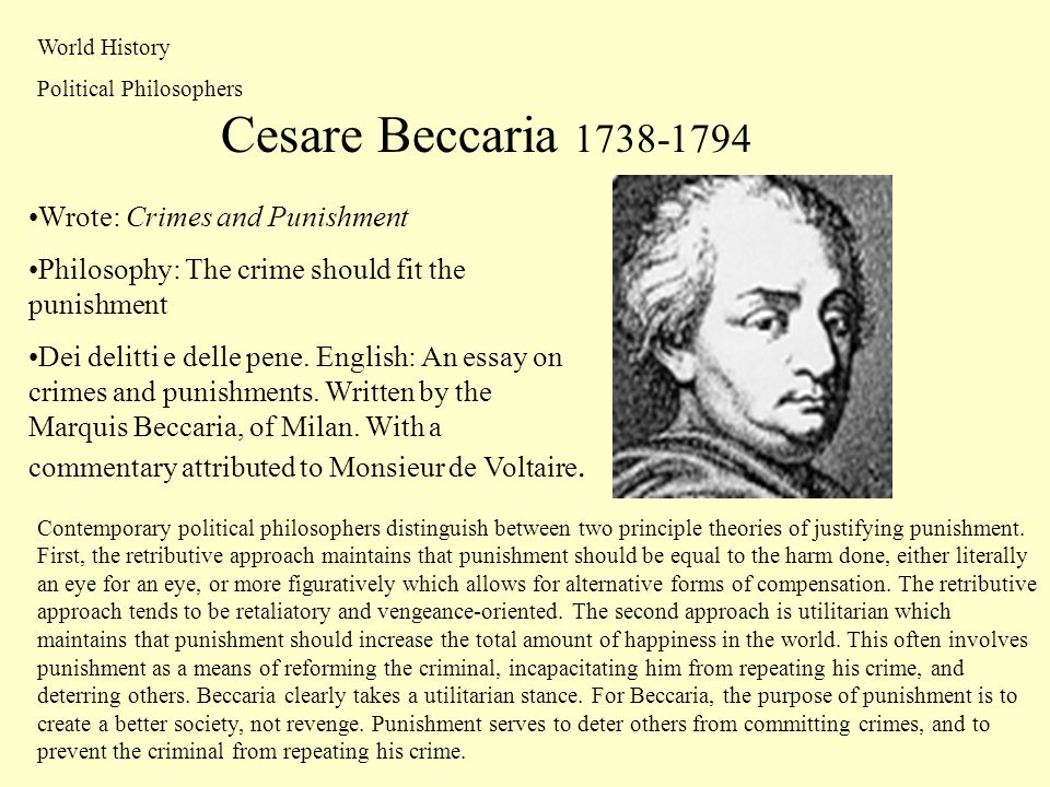 an analysis of the topic of the cesare beccaria in the book on crime and punishments in 1974