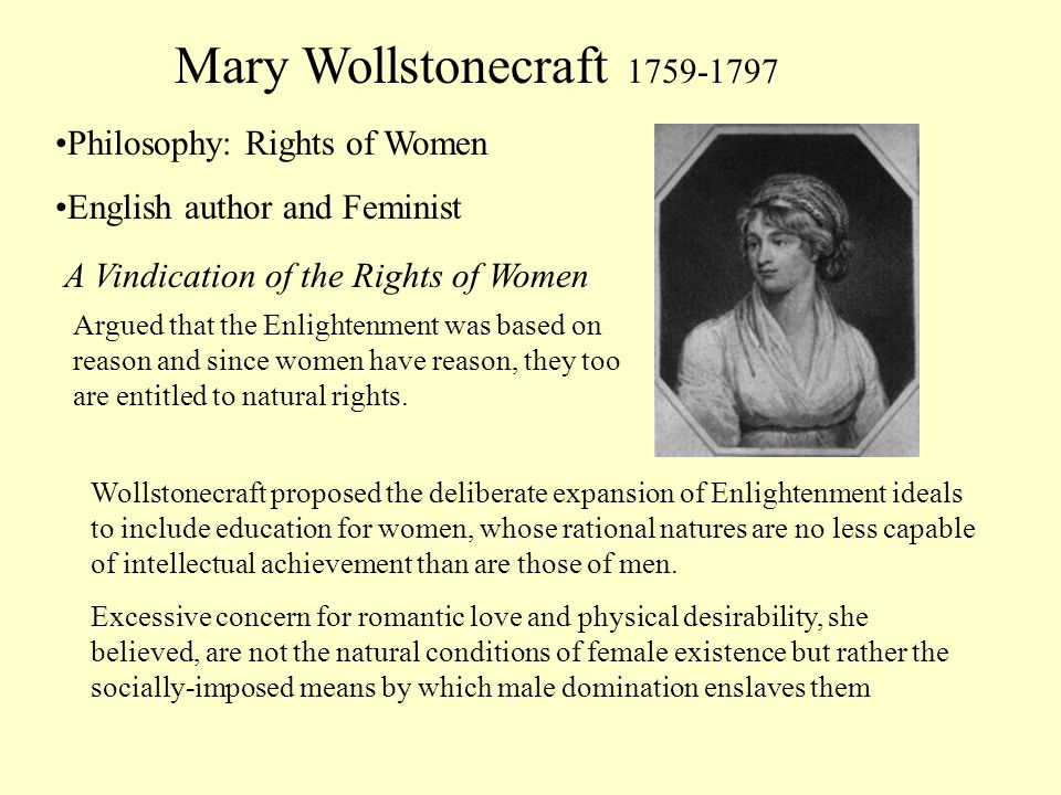 Mary Wollstonecraft 1759-1797 Philosophy: Rights of Women