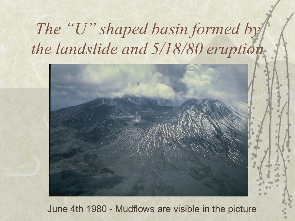 The U shaped basin formed by the landslide and 5/18/80 eruption