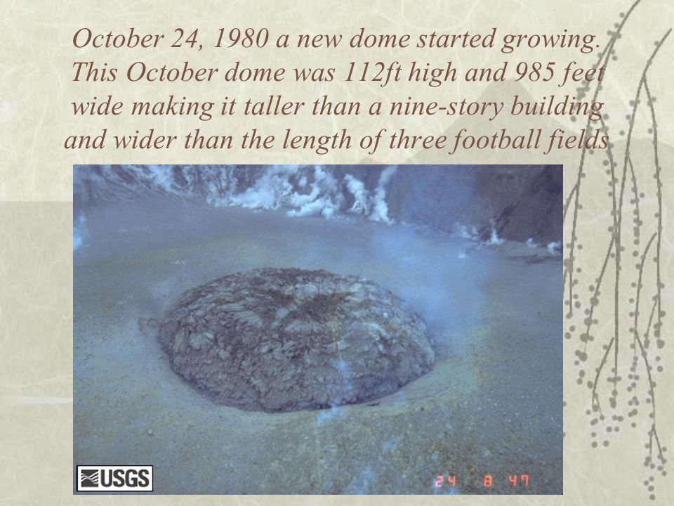 October 24, 1980 a new dome started growing