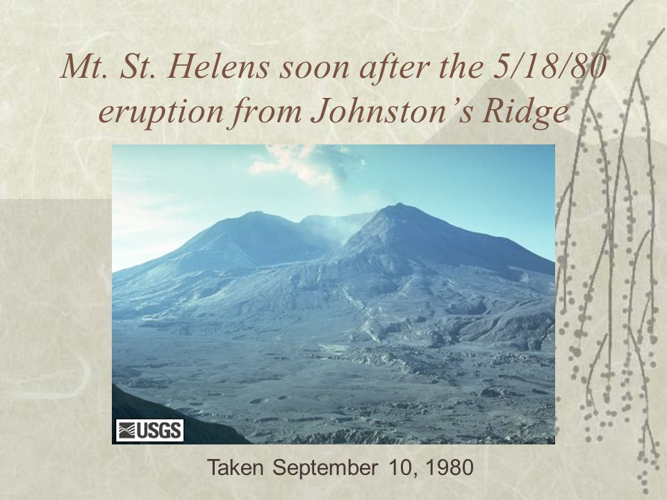 Mt. St. Helens soon after the 5/18/80 eruption from Johnston's Ridge
