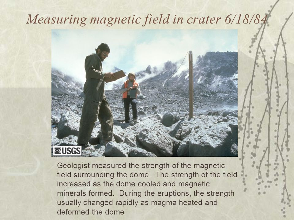 Measuring magnetic field in crater 6/18/84