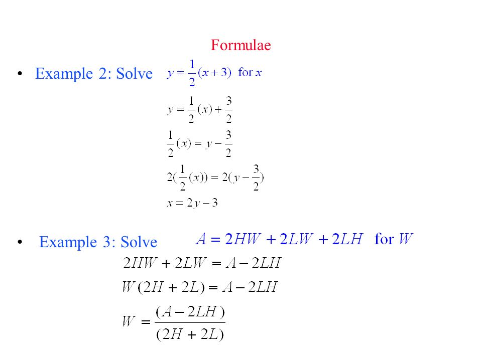 Formulae Example 2: Solve Example 3: Solve