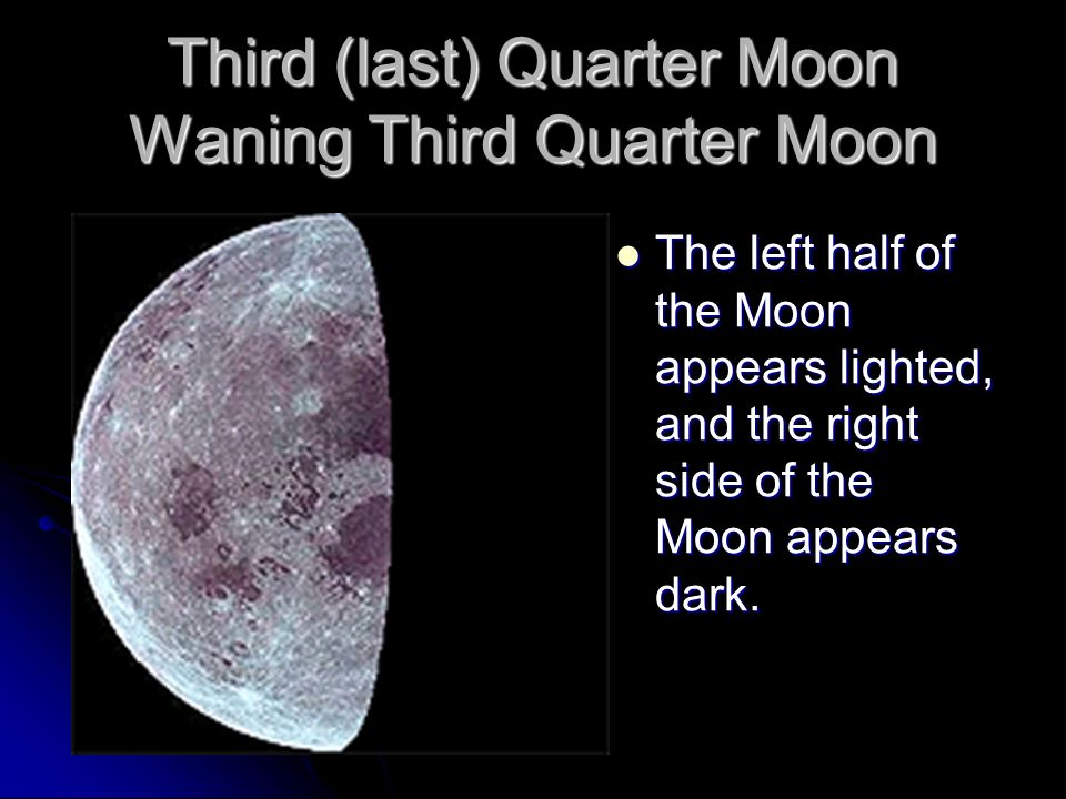 Third (last) Quarter Moon Waning Third Quarter Moon