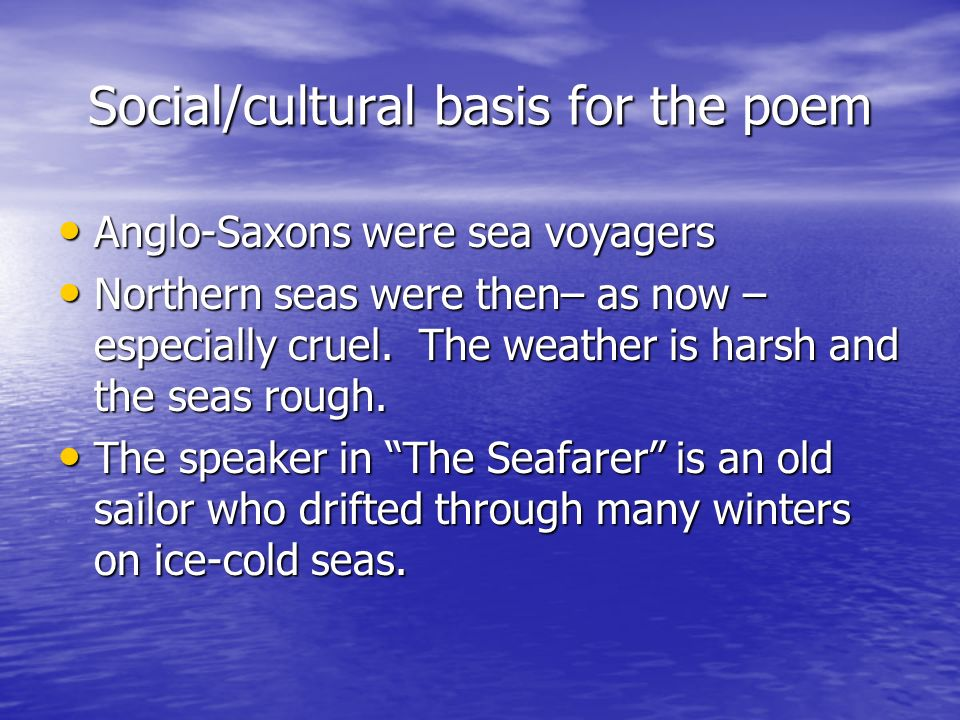 Social/cultural basis for the poem
