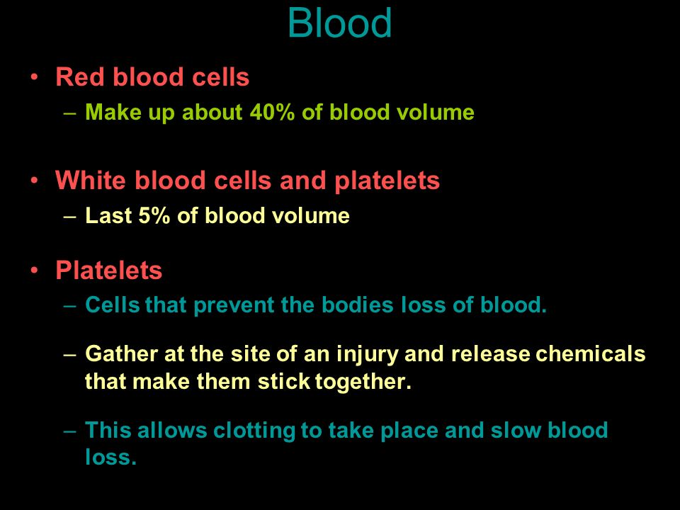 Blood Red blood cells White blood cells and platelets Platelets