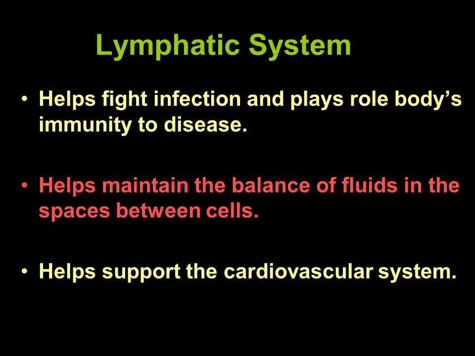 Lymphatic System Helps fight infection and plays role body's immunity to disease. Helps maintain the balance of fluids in the spaces between cells.