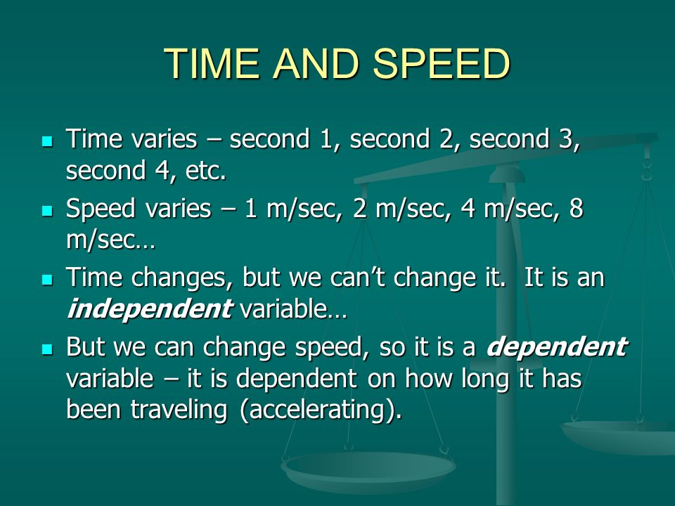 TIME AND SPEED Time varies – second 1, second 2, second 3, second 4, etc. Speed varies – 1 m/sec, 2 m/sec, 4 m/sec, 8 m/sec…