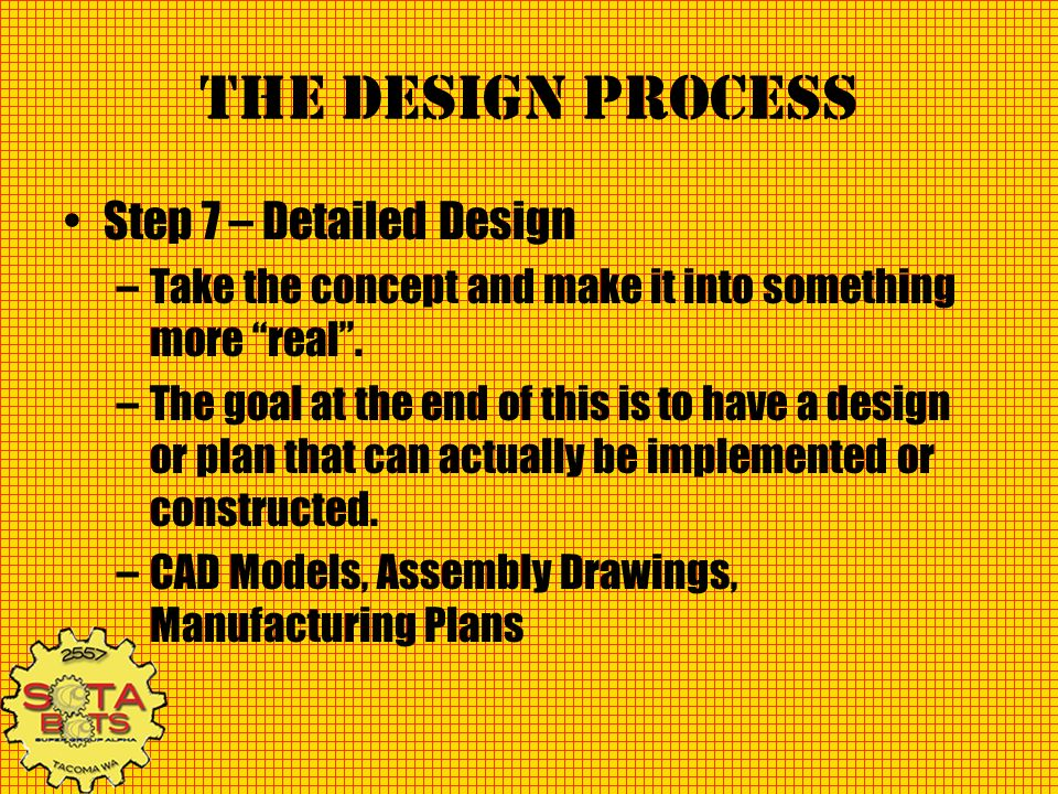 The Design Process Step 7 – Detailed Design