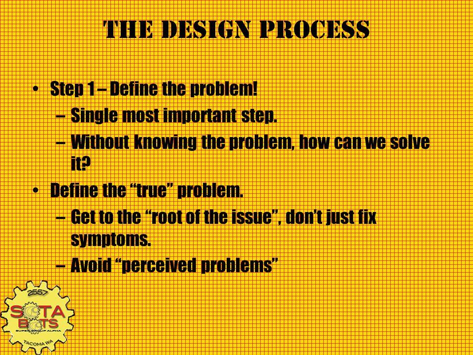 The Design Process Step 1 – Define the problem!