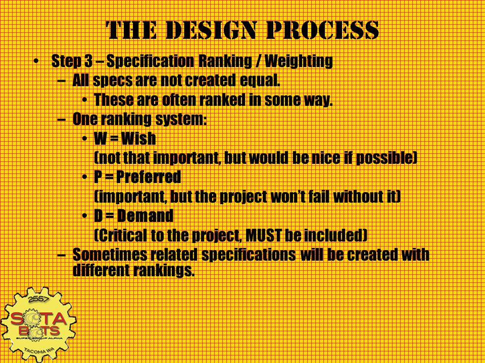 The Design Process Step 3 – Specification Ranking / Weighting