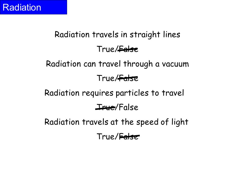 Radiation Radiation travels in straight lines True/False