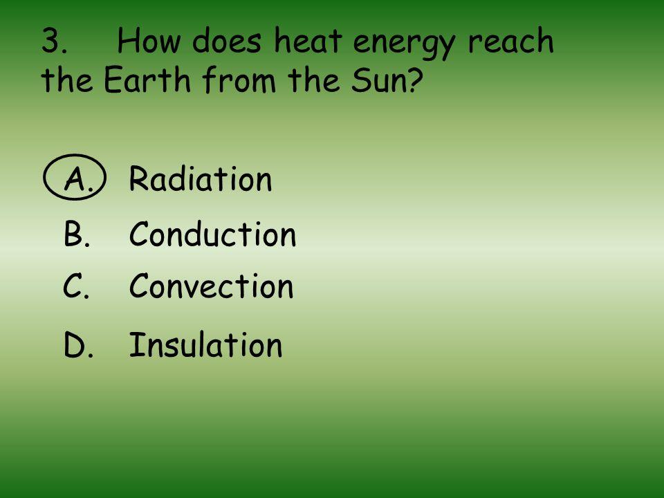 3. How does heat energy reach the Earth from the Sun