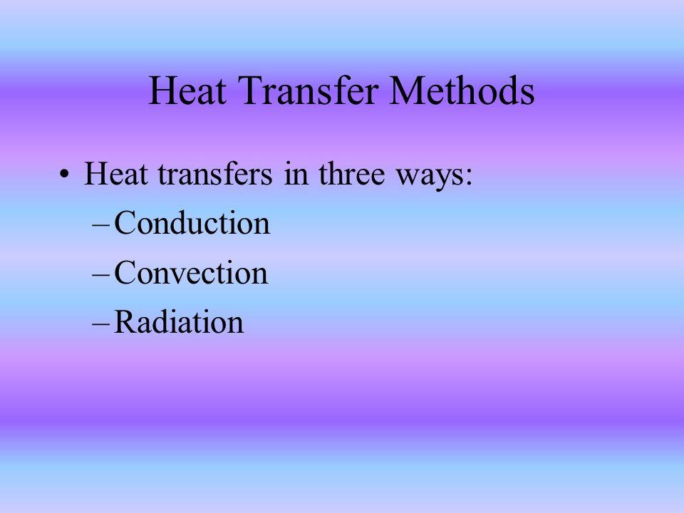 Heat Transfer Methods Heat transfers in three ways: Conduction