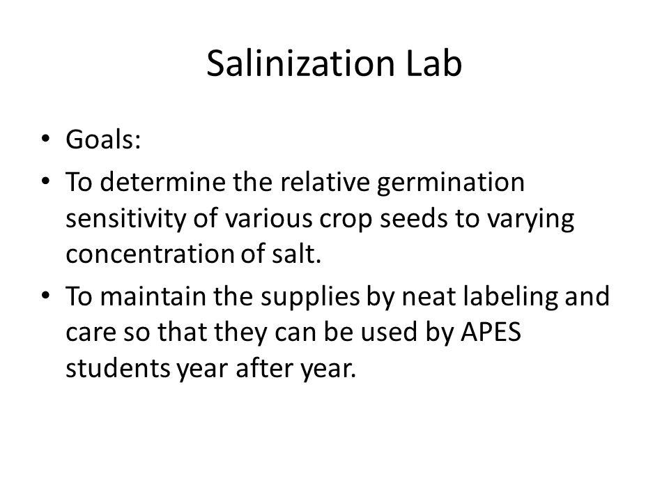 Salinization Lab Goals: