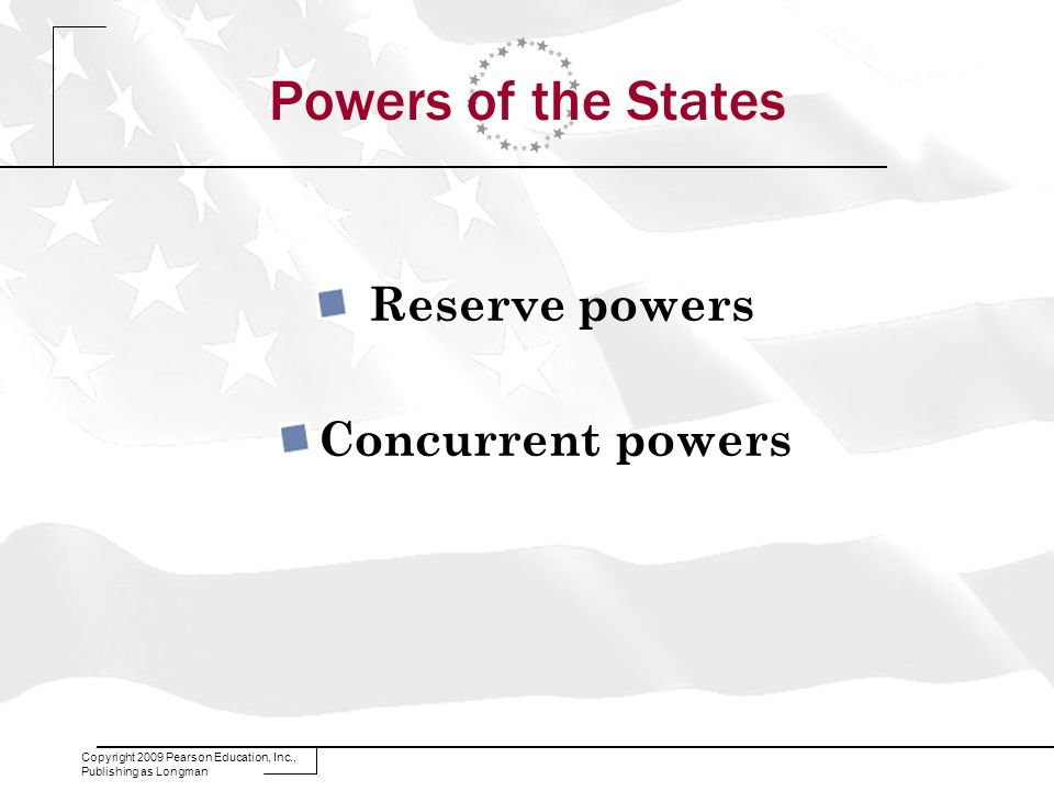 Powers of the States Reserve powers Concurrent powers