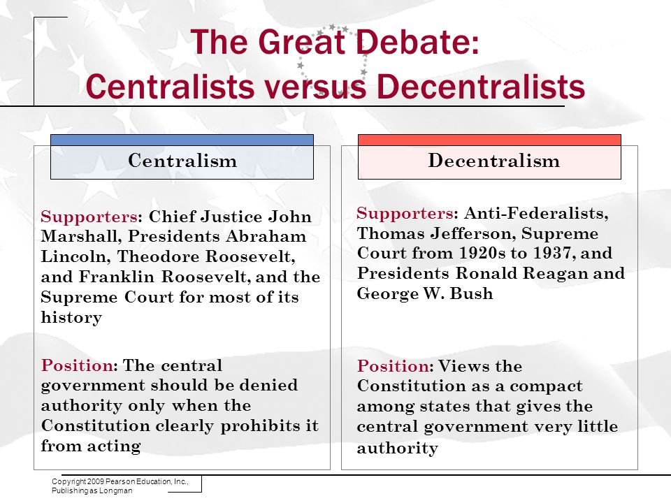 The Great Debate: Centralists versus Decentralists
