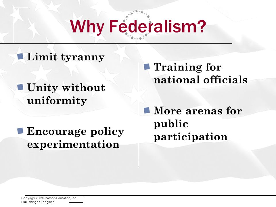 Why Federalism Limit tyranny Training for national officials
