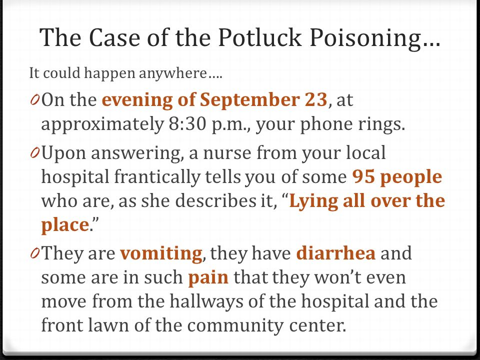 The Case of the Potluck Poisoning…