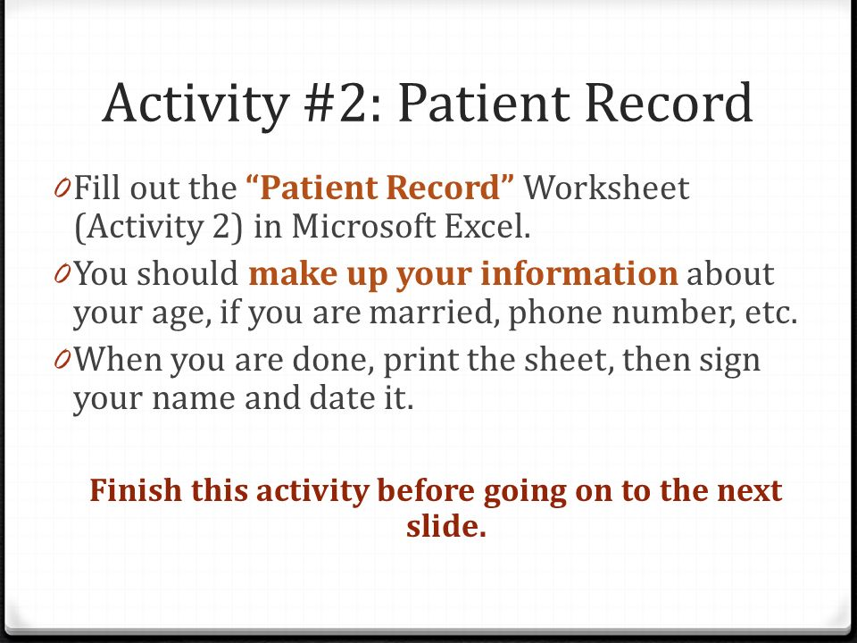 Activity #2: Patient Record