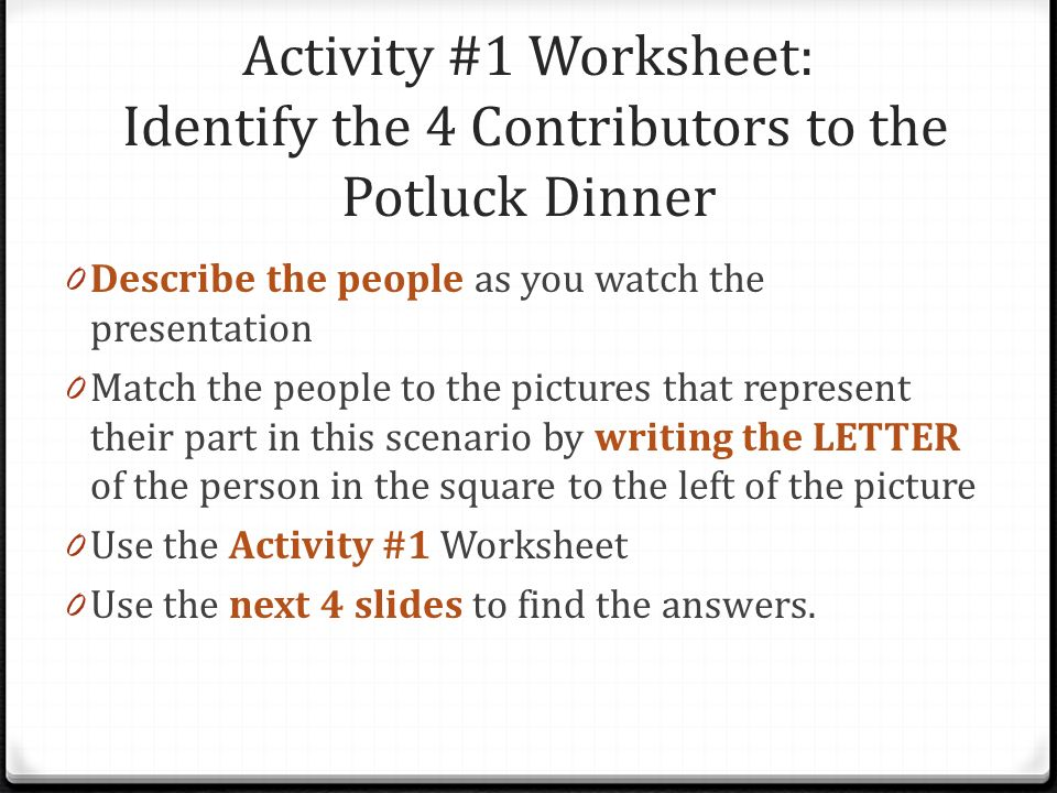 Activity #1 Worksheet: Identify the 4 Contributors to the Potluck Dinner