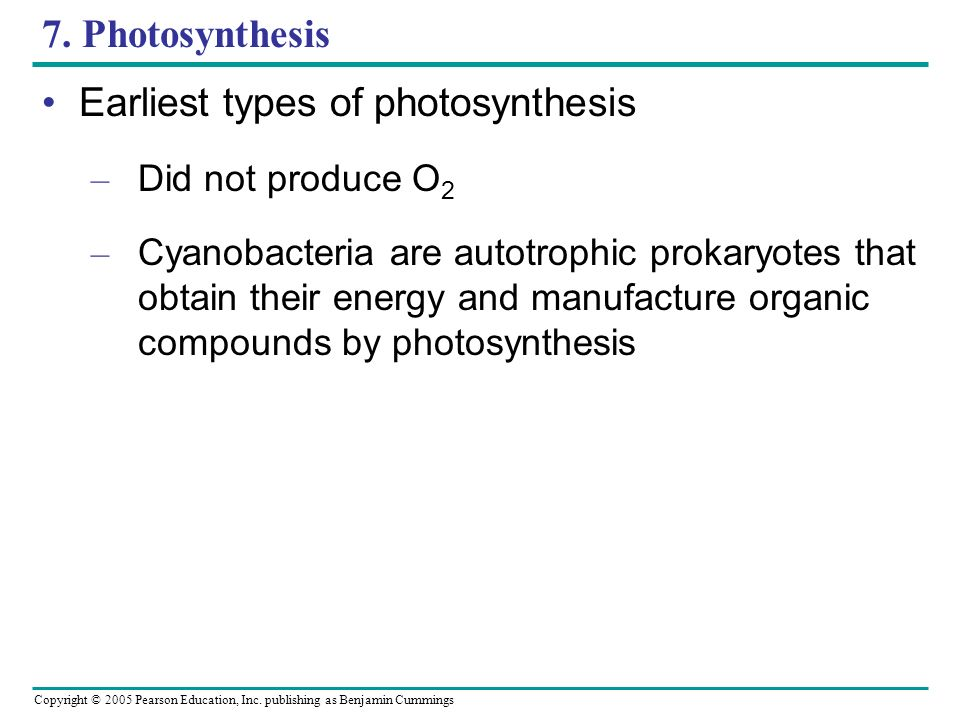 Earliest types of photosynthesis
