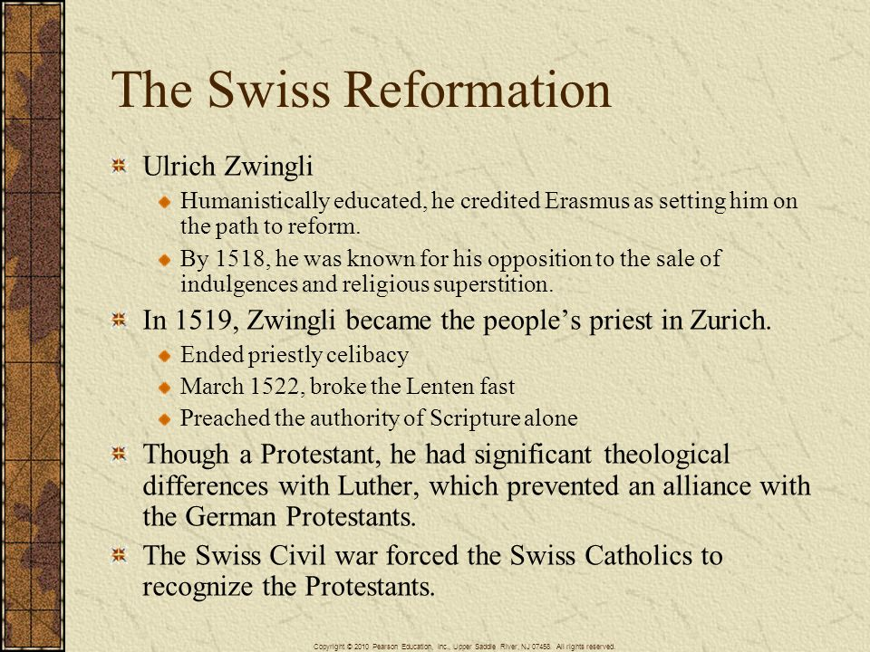 The Swiss Reformation Ulrich Zwingli