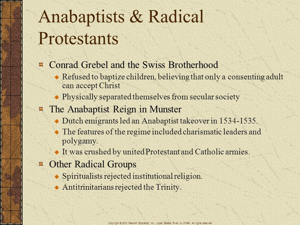 Anabaptists & Radical Protestants