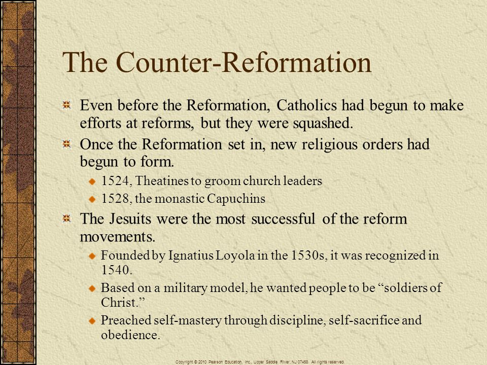 the counter reformation The counter-reformation was a movement within the roman catholic church its main aim was to reform and improve it it started in the 1500s its first period is called the catholic reformation.