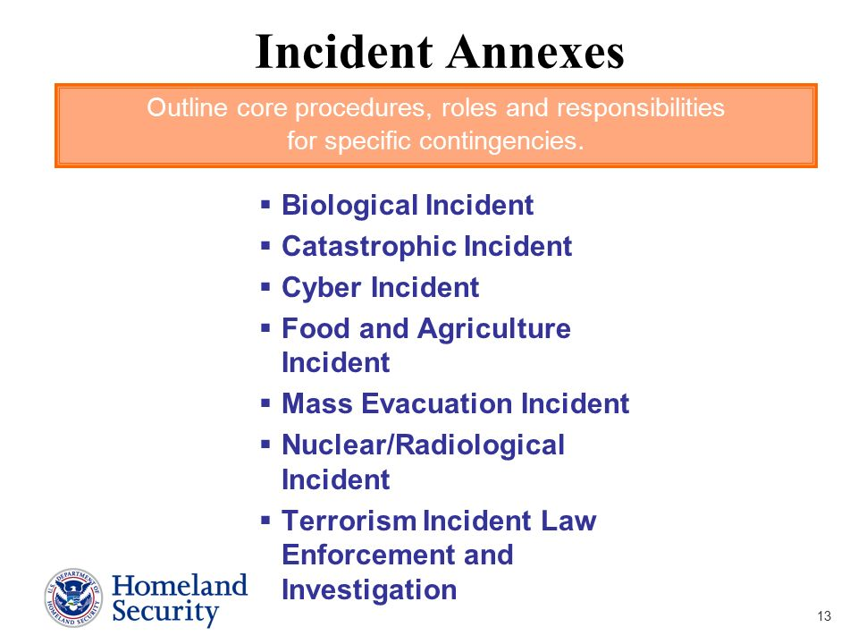 Incident Annexes Biological Incident Catastrophic Incident