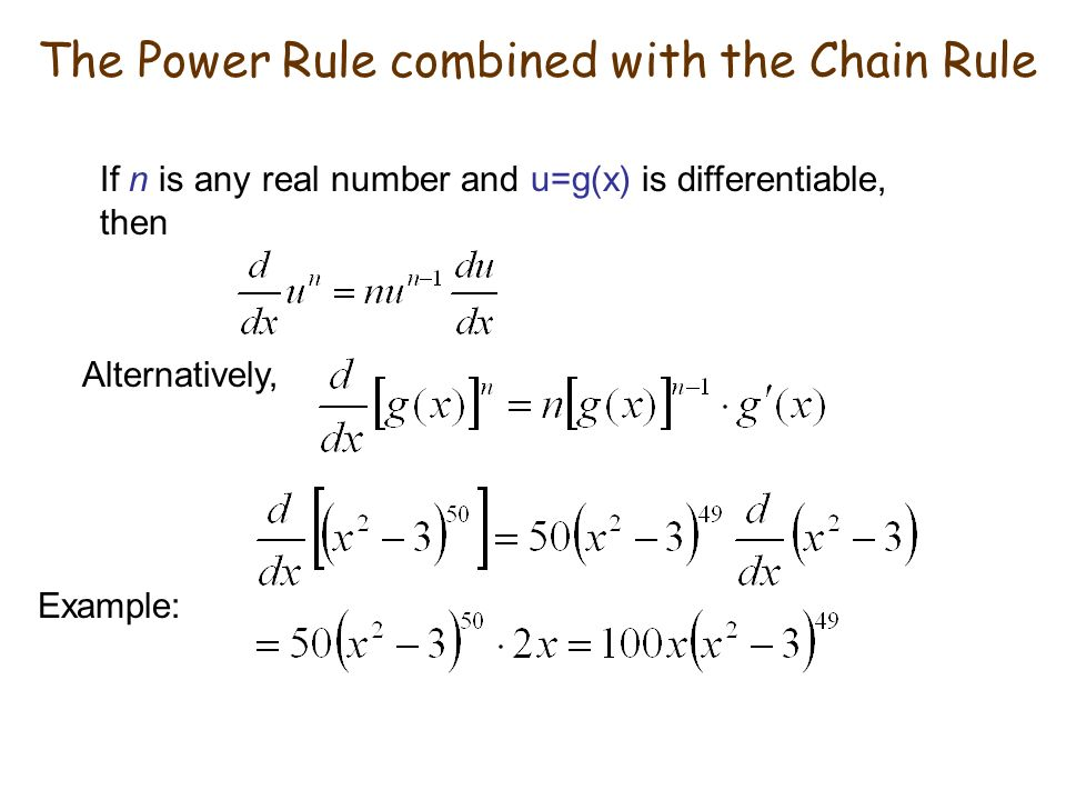 The Power Rule combined with the Chain Rule