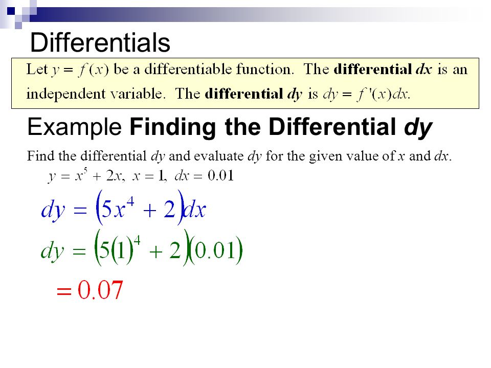 Differentials Example Finding the Differential dy