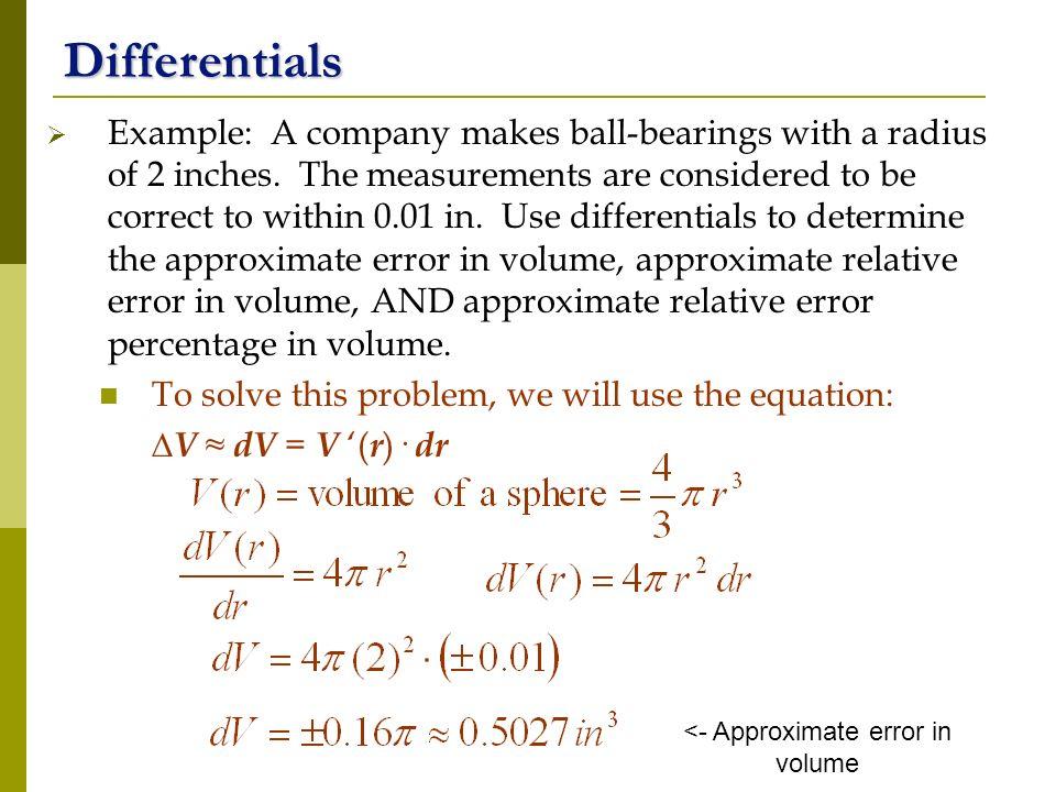 <- Approximate error in volume