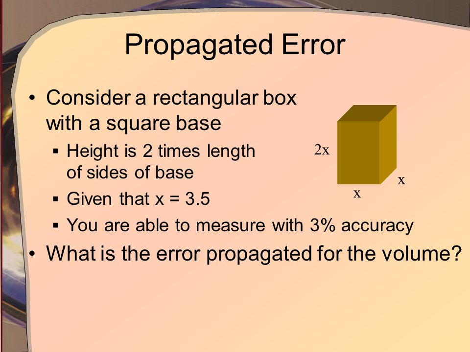 Propagated Error Consider a rectangular box with a square base
