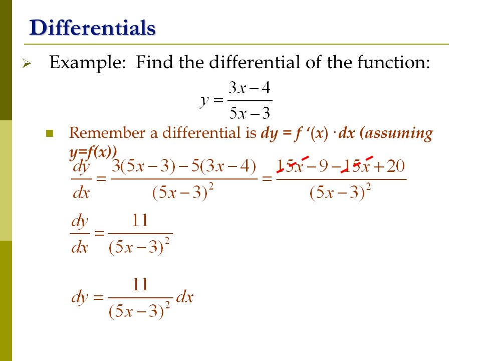 Differentials Example: Find the differential of the function: