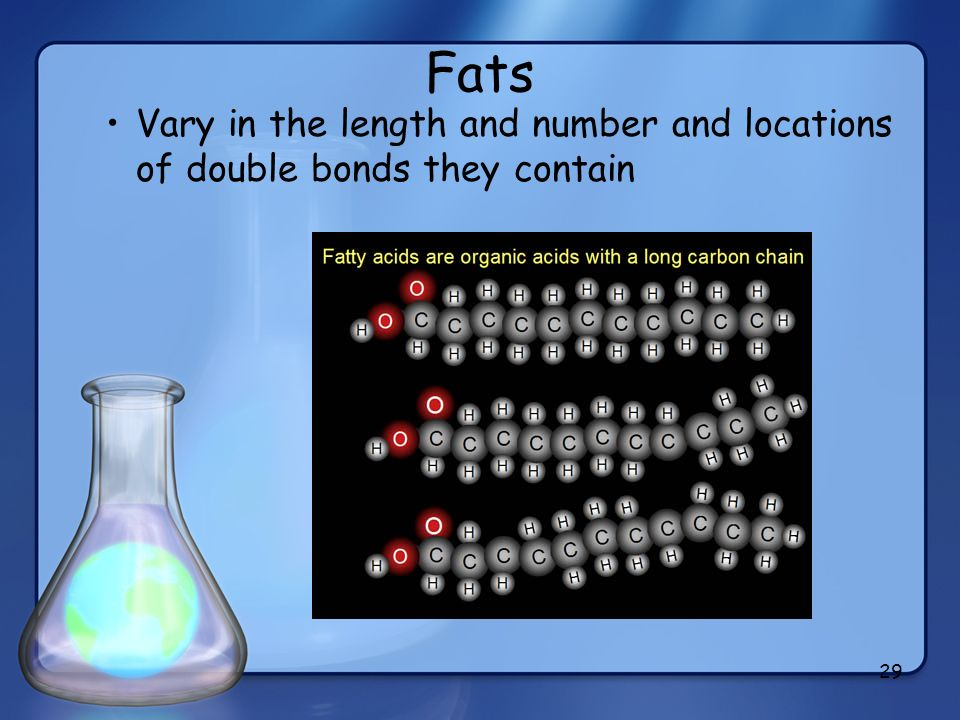 Fats Vary in the length and number and locations of double bonds they contain