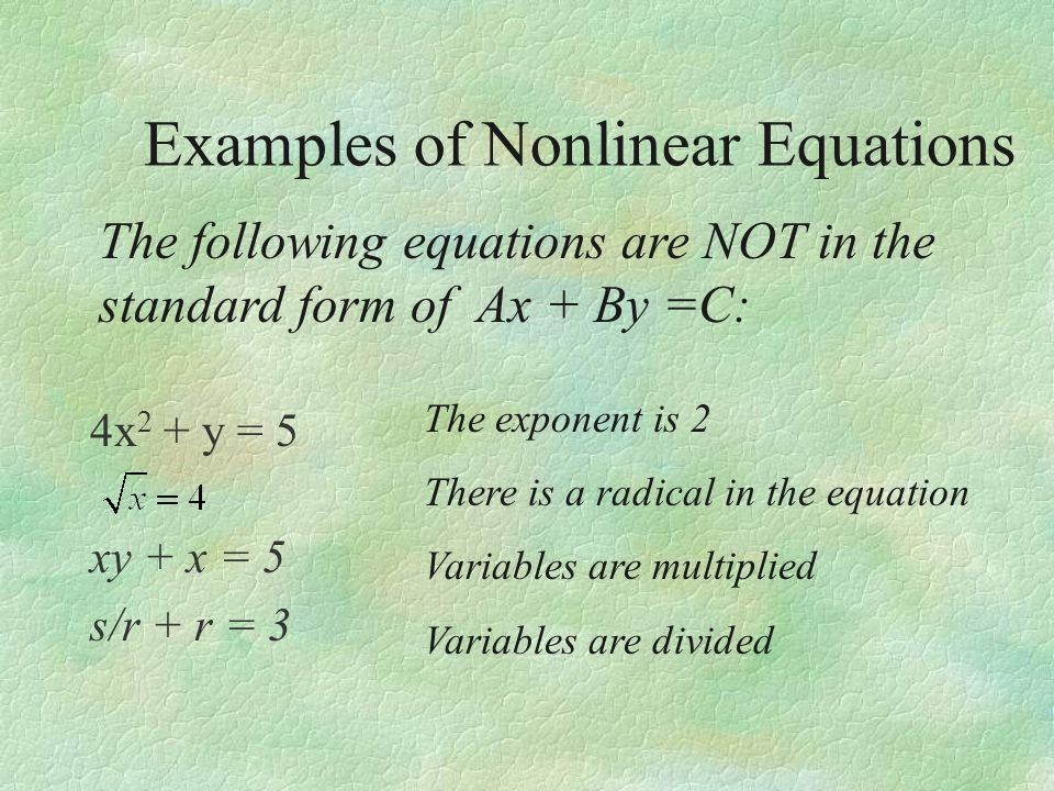 Examples of Nonlinear Equations